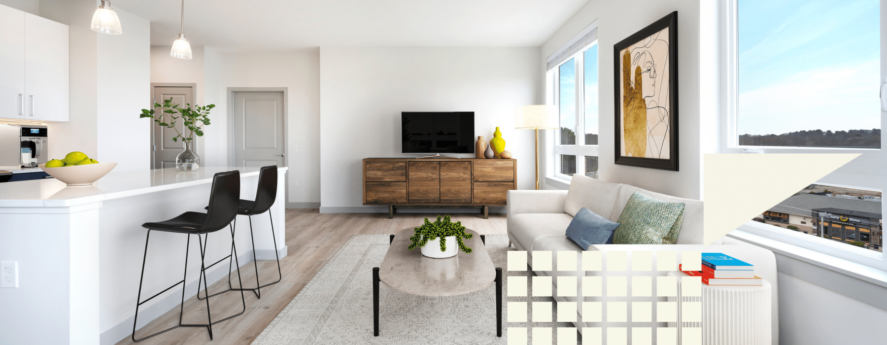 Staged open concept living room
