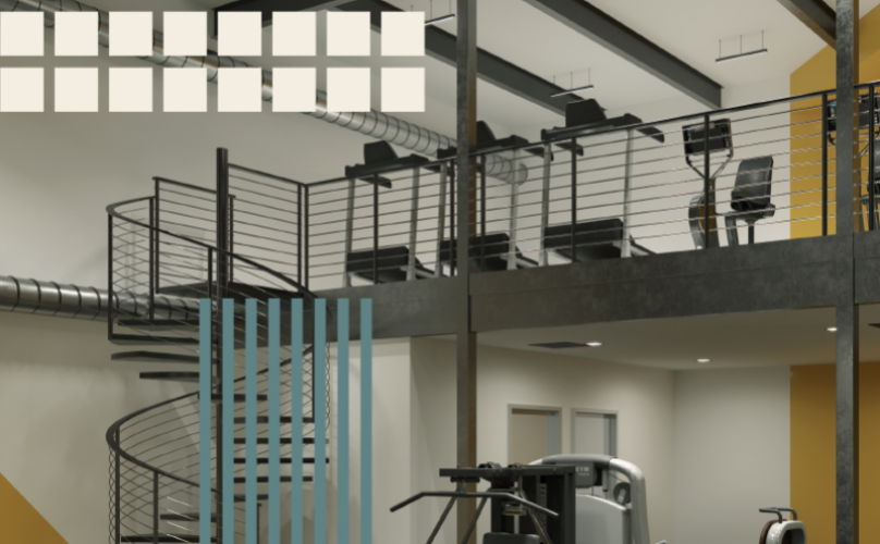 Rendering of the gym with multilevel design