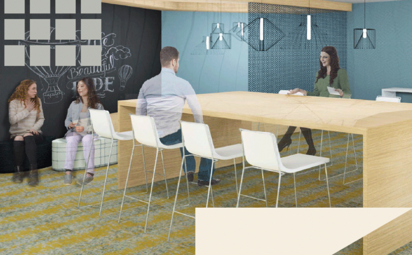 rendering of lounge area with co-working spaces and ample seating