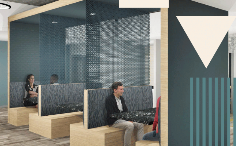 rendering of lounge. co-working area